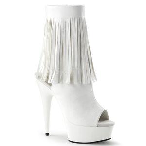 """Shoes - 6"""" High Heel Platform White Fringe Ankle Boots"""